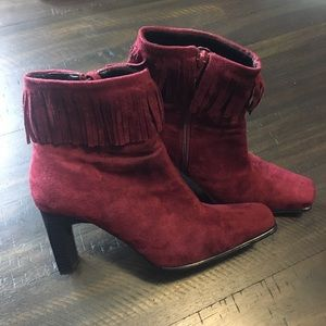 Shoes - Burgundy Faux Suede Heel Boots w/ Tassles